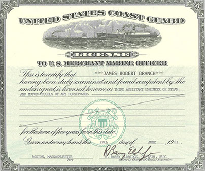 Sample U.S. Merchant Marine Officer License for the Coast Guard