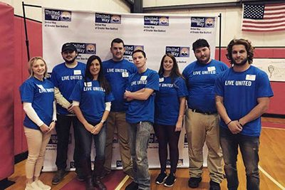 NMI volunteers, college students volunteering, Northeast Maritime Institute community service, united way with food collection, thanksgiving food drive