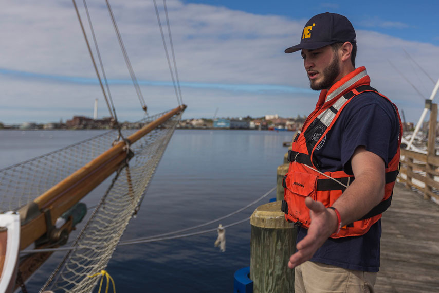 maritime student, student in lifejacket, docking a tall ship